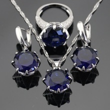 White Green Blue 3 Colors Stones Silver Color Jewelry Sets For Women, Necklace Pendant Earrings Rings Free Gift Box