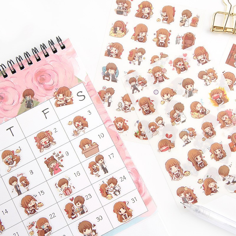 6 Sheets/pack Cute Girls Boys Planner Scrapbooking Stickers Notebook Diary Album Decorative Stickers Stationery Crafts DIY