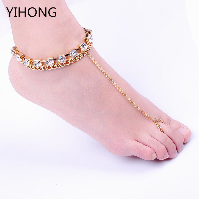Europe and the United States selling jewelry luxury minimalist Rhinestone sandals Anklet jewelry