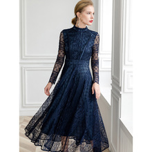PIXY Sexy Hollow Out Mesh Long Sleeve Dress Woman Party Night Lace Dresses Vintage Red Vestidos Verano Omighty Navy Blue Spring