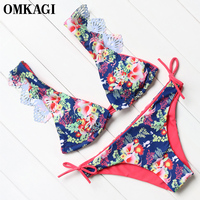 OMKAGI Brand Micro Push Up Bikini Set Swimsuit Swimwear Women Sexy Bathing Suit Beachwear Swim Suit