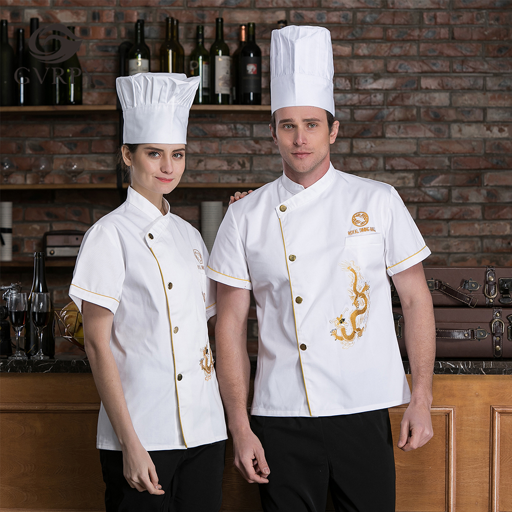 Short Sleeve Chef Uniform Single Breasted Summer Chef Work Shirt Dragon Embroidery Hotel Restaurant Kitchen Cooking Work Jacket