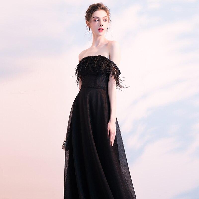 Plume Élégant Nouveau Picture Épaule Banquet Partie Sexy 2019 Féminine Mot The Robe Longue Color Noir YIqHOdY
