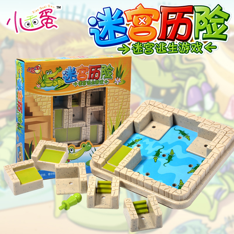 Candice guo plastic toy funny block building game escape game pass through Crocodile pool christmas present birthday gift 1set candice guo wooden toy wood shape color block sun moon diy hand work match building pillar game birthday christmas present gift