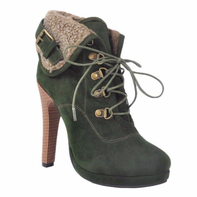 Женская 13 см Высокий Каблук Stiletto Обувь на шнуровке Круглый Носок Зима Ботильоны XD264