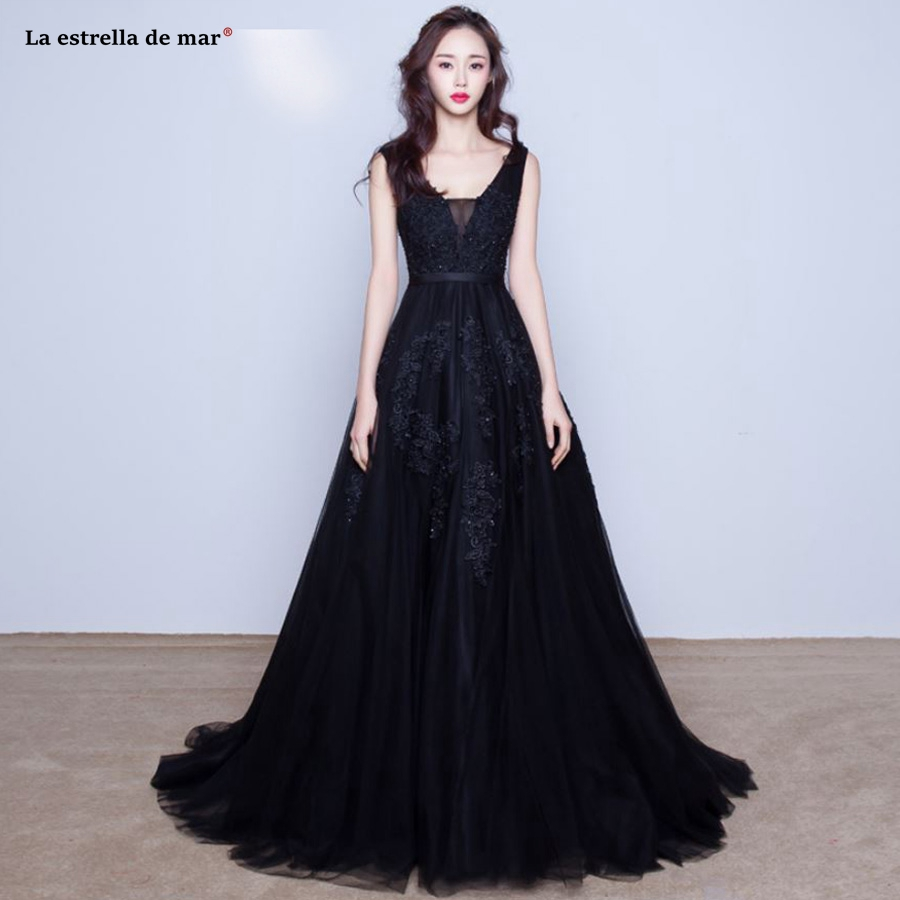Vestido formatura 2019 new sexy V neck tulle pearl halter a Line Burgundy Black Silver Turquoise pink   prom     dresses   long sale