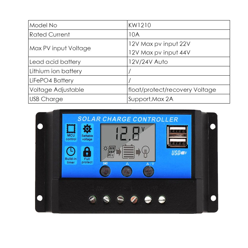 30A 12v//24v LCD PWM Solar Charge Controller PV cell panel charger