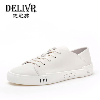 Delivr 2019 Spring Summer White Shoes Men Casual Shoes Real Leather Male Sneakers Fashion Cool Street Formal Shoes Men Footwear