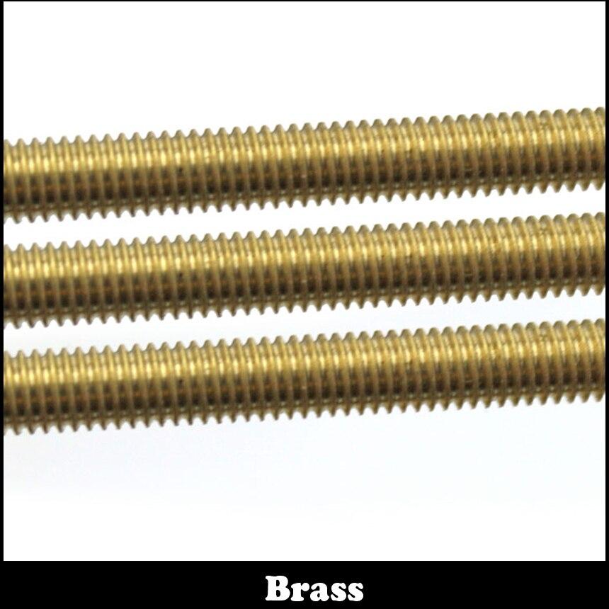 1pc M12 500mm M12*500 Metric Brass Thread Rod Bar Copper Full Thread Stud 20pcs m3 m12 screw thread metric plugs taps tap wrench die wrench set