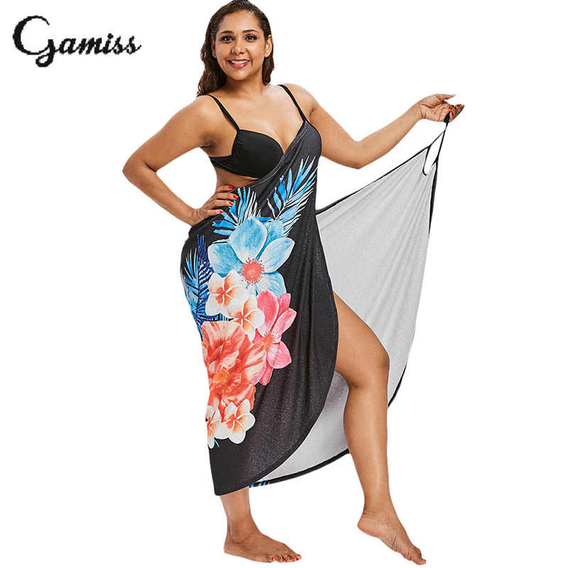 d24a1fe798 Detail Feedback Questions about Gamiss Plus Size Sexy Floral Print Bikini  Cover Up Dress Beach Cover Up Convertible Black Bathing Suit Beach Wear  Tunic on ...