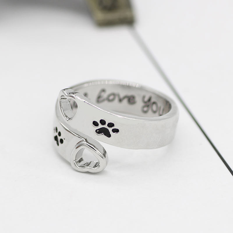 Simple And Stylish Hollowed Out Pet Dog Paw Footprints Engraved With quot I Will Love You Forever quot Dog Footprints Paw Love Ring Gift in Rings from Jewelry amp Accessories