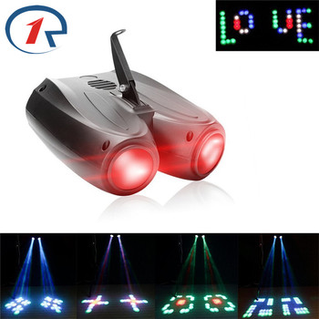 ZjRightPortable Music Auto/Sound Actived 128 LED RGBW Lights Double Head Laser Stage Effect Lighting Club Disco DJ Party Bar KTV