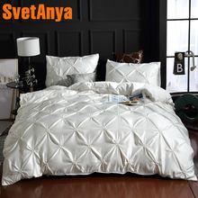 Svetanya Artificial silk Duvet Cover+Pillowcase Solid Color Bed Linen Single Double size Bedding Set white black beige etc.