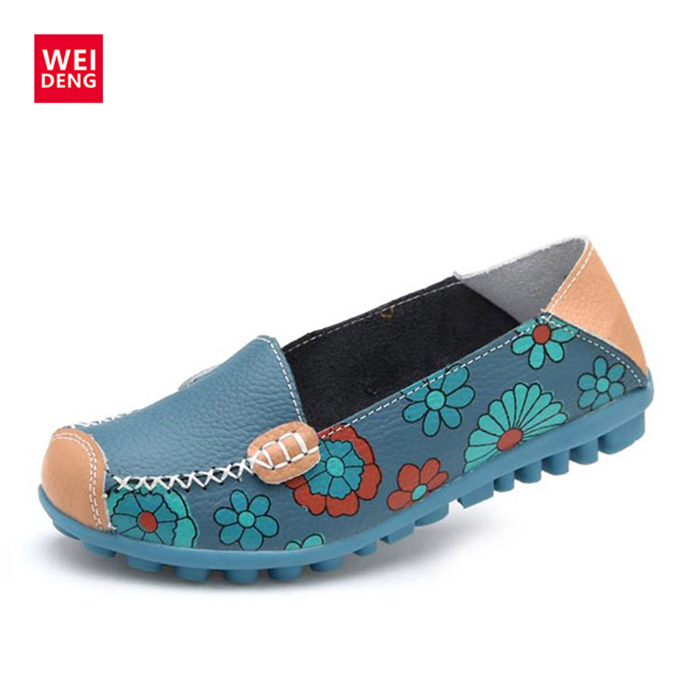 WeiDeng Women Casual Genuine Leather Boat Comfortable Soft Gommino Flat Ventilation Fashion Printing Flat Slip On Shoes Loafers weideng cow suede genuine leather loafers shoes handmade women casual boat fashion soft footwear flats slip on ladies autumn