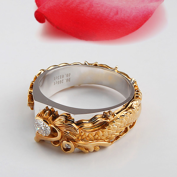 025 Carat Solid 750 Gold Dragon Ring Terrific Synthetic Diamonds