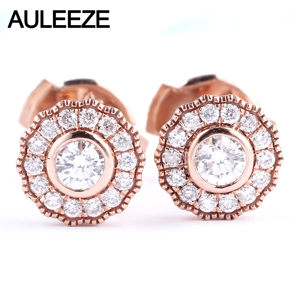 AULEEZE Classic Flower Real Diamond Stud Earrings 18K Rose Gold Engagement Earrings For Women Natural Diamond Fine Jewelry Gifts 18k rose gold women stud earrings double balls fine engaged wedding jewelry fashion female delicate gift hot sale trendy party