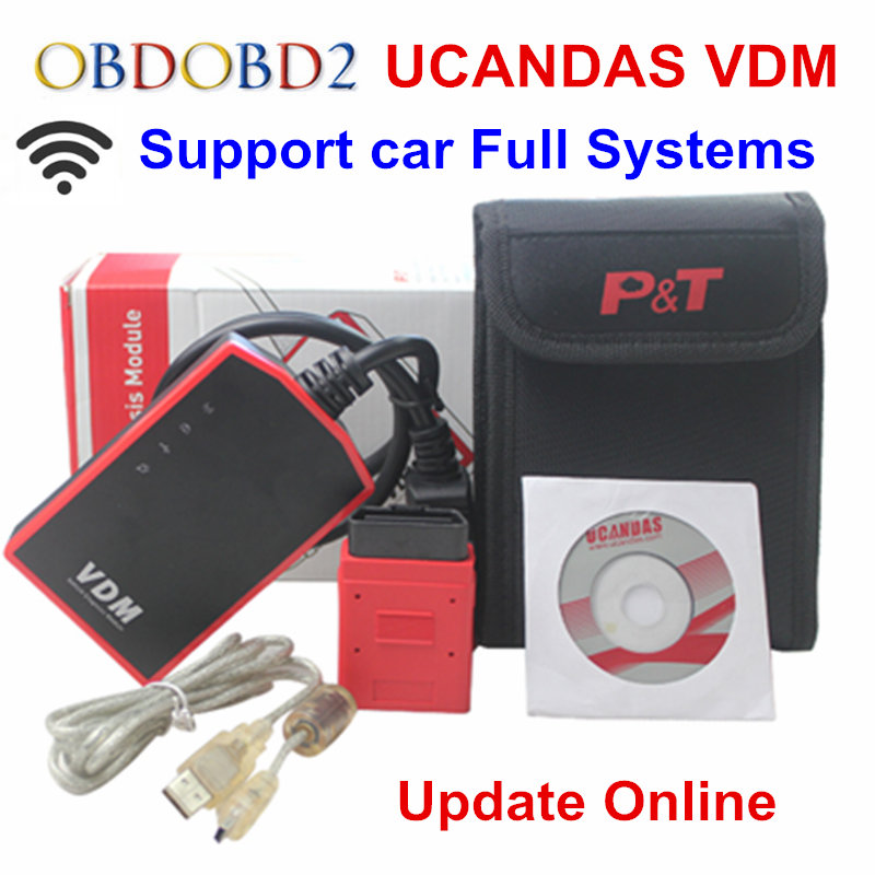 Multi-Language Wifi VDM2 UCANDAS VDM V3.9 Auto Diagnostic Scanner Automotive OBD2 Support Full Systems for Windows/Android Phone vdm ucandas wifi full system automotive diagnostic tool multi language newest version v3 73 include for h onda adapter