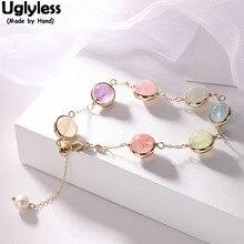 Uglyless драгоценные камни 7-Цвет шарики радужные браслеты для Для женщин Настоящее из 14-каратного золота с тонкие цепочки браслет натуральный ювелирные изделия из жемчуга