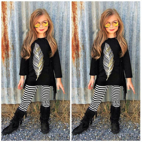 2pc Toddler Baby Girl Long Sleeve Tassel Feather Print Tops+Striped Pants Outfit
