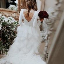Moon Talee Backless fairy satin Wedding Dresses sweep train