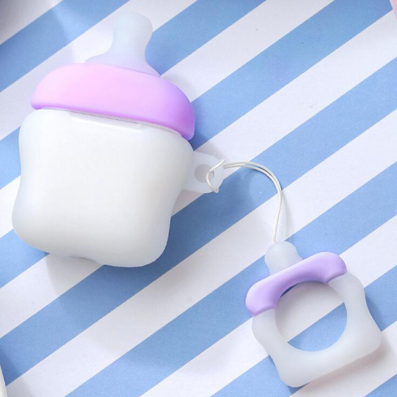 Creative Nipple Design Silicone Cover for Apple AirPods 1 2 Charging Case Baby Bottle Nipple Milk Bottle Earphone Charger Case in Earphone Accessories from Consumer Electronics