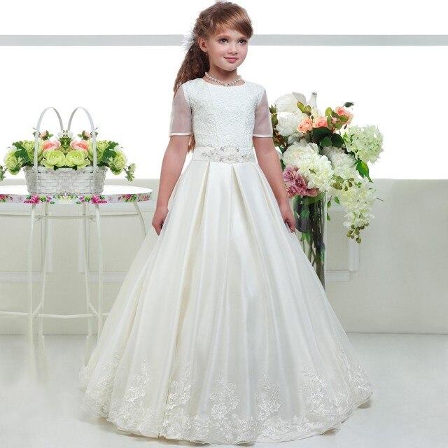 59a340d9a Blanco Santa Primera Comunión vestidos para niñas con cordón encaje flor  vestido de niña para boda
