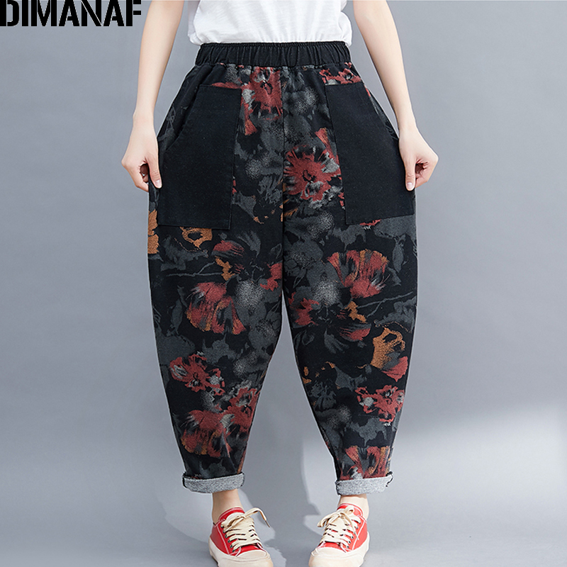 DIMANAF Plus Size Women Harem Pants Vintage Print Loose Big Size Trousers Pantalones Female Elastic Waist Long Pants 2019 Autumn