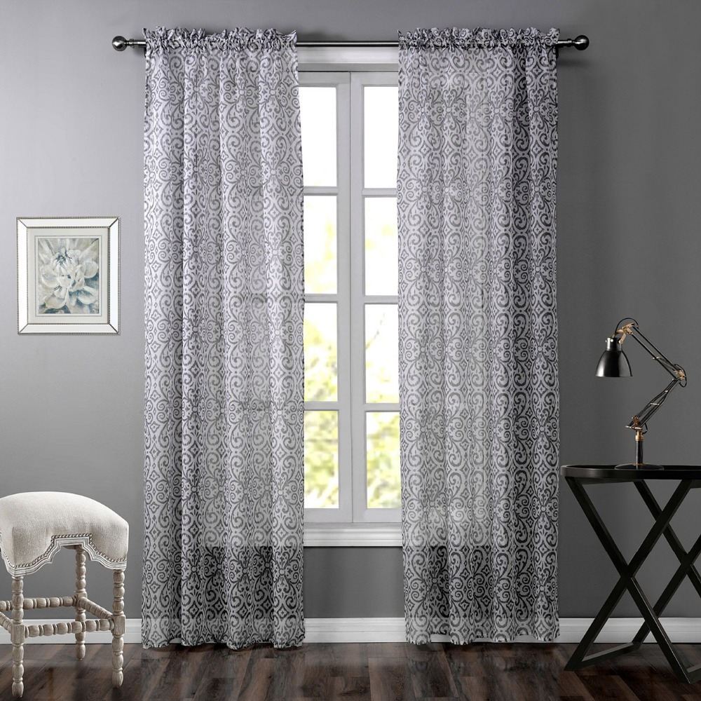 Cheap grey curtains - Grey Curtains Printed Striped Curtains For Windows Grey Striped Cheap Bedroom Curtain High Quality 1piece Free Shipping