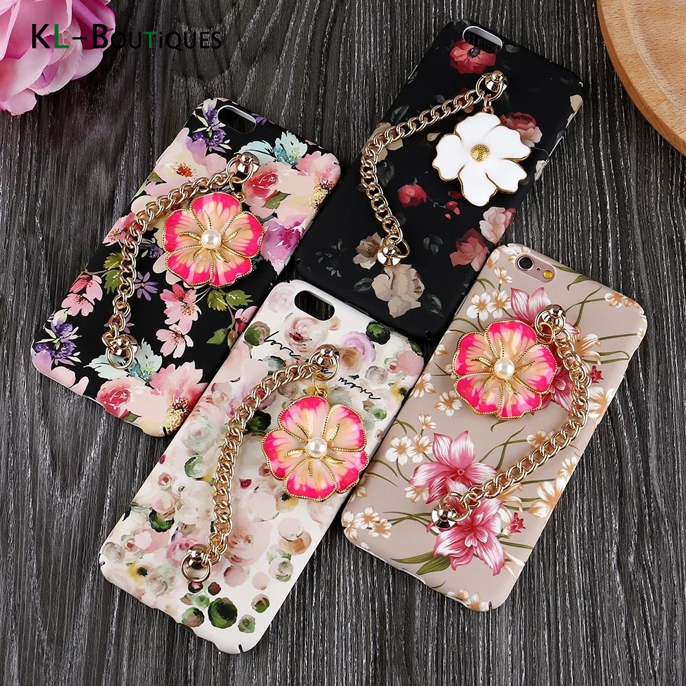 Fashion 3D Bead Flower Case for Coque iPhone 7 for iPhone 6 6S 7 Cases Cartoon Flower Bracelet Cover Phone Bag Women Girl Capa