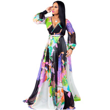 2019 new chiffon print dress fashion sexy V-neck bohemian style stitching irregular