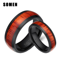 His And Hers Wedding Ring Sets Black Titanium Rings With Mahogany Wood Inlay 6MM 8MM Women
