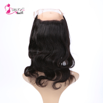 Ms Cat Hair Brazilian Body Wave 360 Lace Frontal Closure With Baby Hair 100% Human Hair Free Part Remy Hair Free Shipping