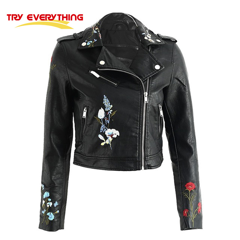 Try Everything Flowers Embroidery Leather Jacket Women Black 2017 Faux Pu Ladies Leather Jackets Spring Autumn Women Coats