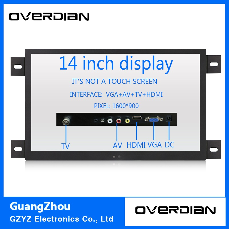 14 VGA/HDMI/TV/AV Interface Industrial Control Lcd Non-Touch Monitor Metal Shell Black Embedded Frame1600*900 11 6 inch metal shell lcd monitor open frame industrial monitor 1366 768 lcd monitor mount with av bnc vga hdmi usb interface
