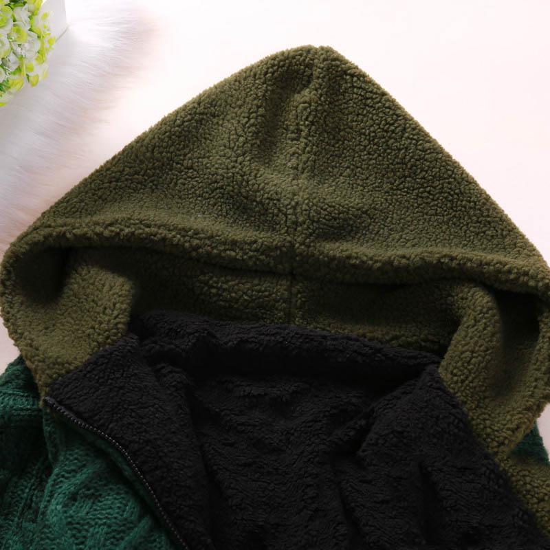 Femmes À Manches Mode Lâche Doublure Tricotés Black Cardigans Zip Longues Pulls Tricots Capuche Femelle green Survêtement Manteau Polaire Chaud dqXz1v