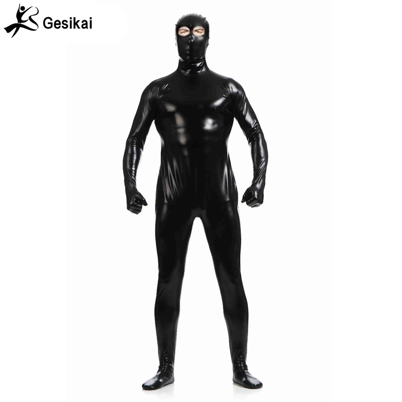 Metallic Red Lycra Zentai spandex Unisex Catsuit Open Eyes Nose Mouth