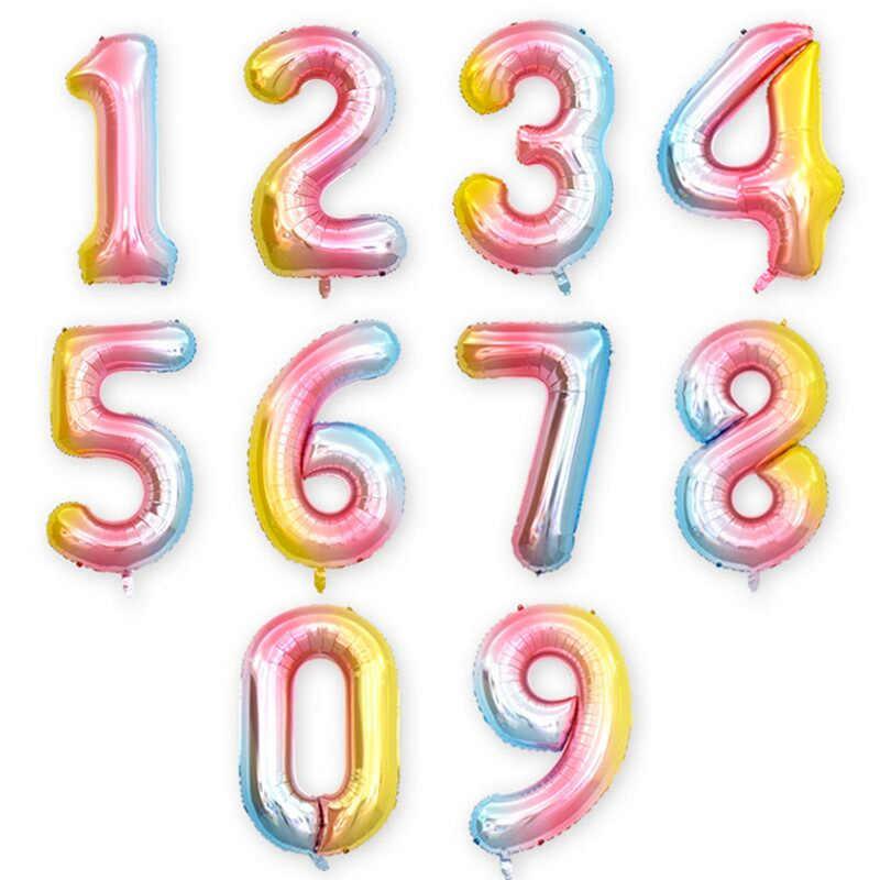 16/32 นิ้ว Rainbow จำนวนบอลลูนฟอยล์ 0-9 ปีดิจิตอลตกแต่งเด็กบอลลูน Globos