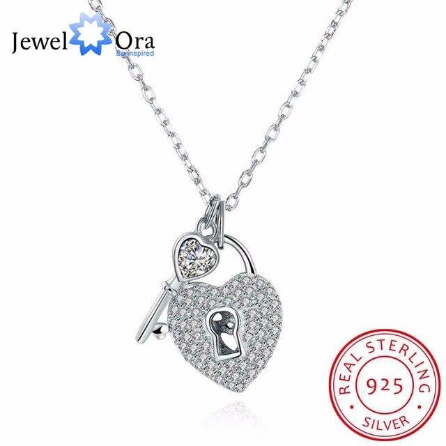 Solid 925 sterling silver necklace heart lock key design love solid 925 sterling silver necklace heart lock key design love jewelry necklaces pendants for aloadofball Gallery