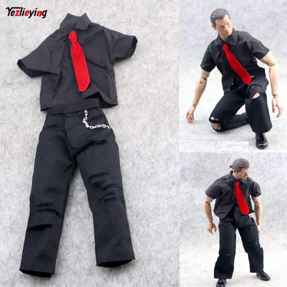 1/6 Scale Soldier Clothing Accessories Military Michael Uniform Costume Jackson Shirt+Tie+Hole Suit For 12 Inch Toy Action Model