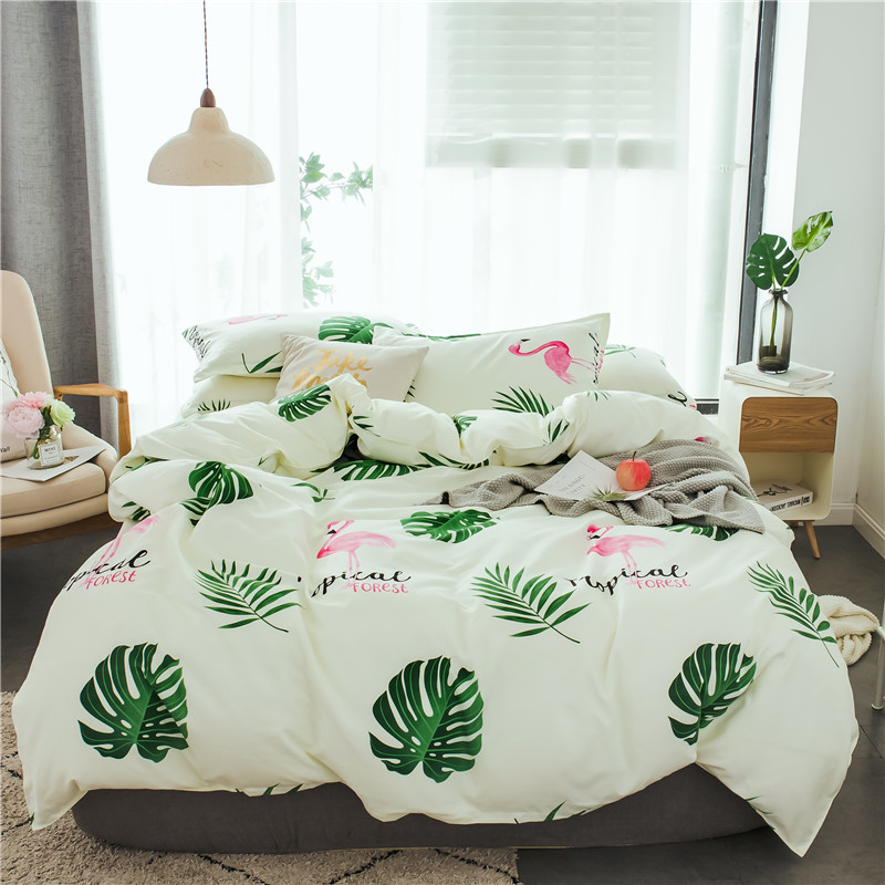 Tropical Flamingo 3-4pcs/lot AB Sides Duvet Cover Sets 100% Polyester Bedding Sets for Kids Adults Single Double Bed XF612-8Tropical Flamingo 3-4pcs/lot AB Sides Duvet Cover Sets 100% Polyester Bedding Sets for Kids Adults Single Double Bed XF612-8