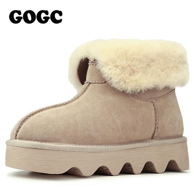 GOGC 2017 Snowshoes ile kadın Kış Çizmeler Yün Kürk Rahat Ayak Bileği Kadın Çizmeler Hakiki Deri kadın Kış Ayakkabı rahat