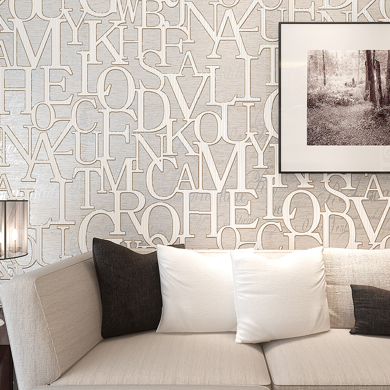 Modern Fashion English Alphabet Wallpaper 3D Stereo Relief Non-Woven Wall Papers Bedroom Living Room TV Backdrop Papel De Parede