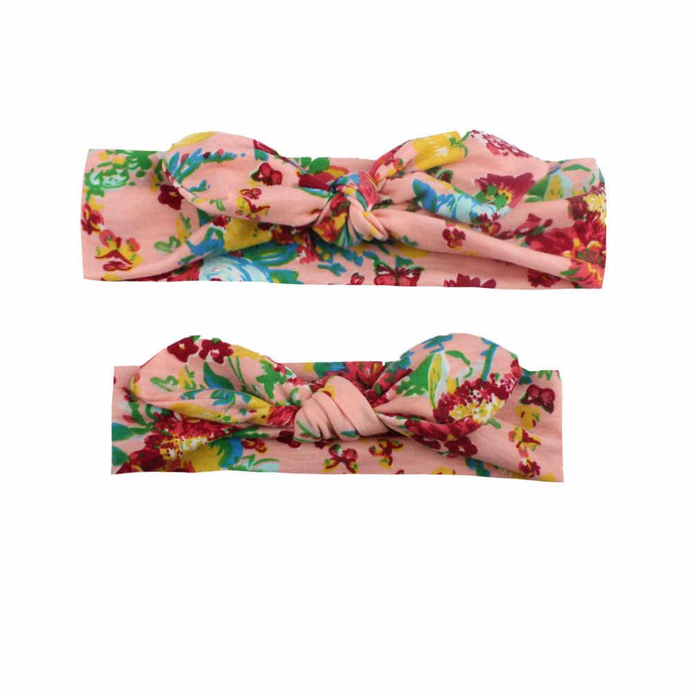אמא חדשה בנות אלסטיים בגימור אוזן ארנב מודפס פרחים מודפסים למתוח סרט Hairbands אבזרים לשיער 2 יחידות
