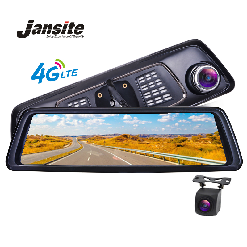 Jansite Carro Dvr 10 Full Touch IPS 4G Android GPS Espelho FHD 1080 P veículo Da Câmera do Carro espelho retrovisor câmera BT WIFI DushCam ADAS