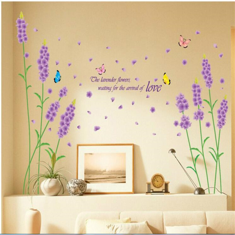 Korean style wall stickers lavender Removable PVC TV/Sofa Background Home Mural Bedroom Living Room warm decoration XL7017