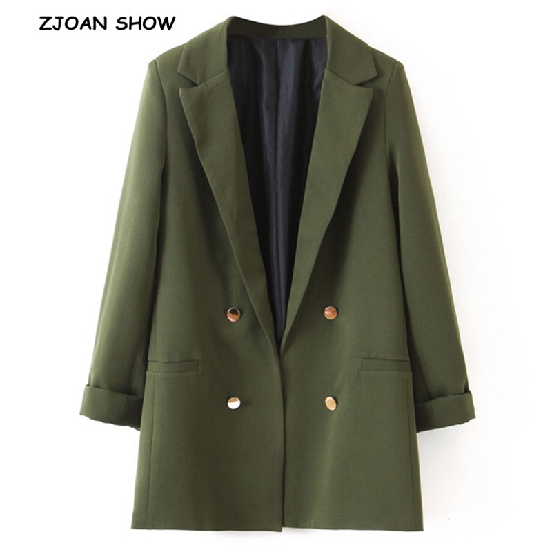 2019 New Summer Army Green Buttons Open Stitching Blazer Boyfriend Friend Style Women Mid Long Suit Coat Roll Up Cuff Thin Coat