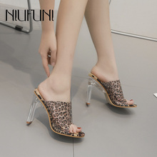 Transparent Leopard Sexy Women's Slippers 2019 Summer New Arrival Crystal With Thick High Heels Peep Toe Sandals Shoes For Women цена