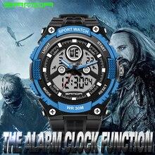 SANDA Nueva Marca De Lujo de Los Hombres Militar Deportes Relojes LED Digital Relojes de pulsera de Cuarzo Correa De Caucho Reloj Del Relogio masculino