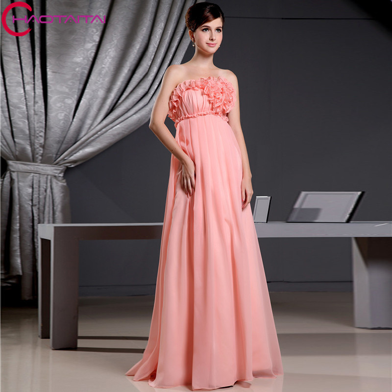 Elegant Wedding Guest Dress 2018 Chiffon Strapless Floor
