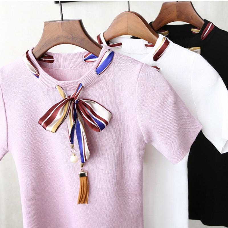 Pantalon Bow Pearls T shirt Women Slim Knit Short Sleeve Beading Ribbon Casual Tops Summer Lady Elastic Cotton Top Tee